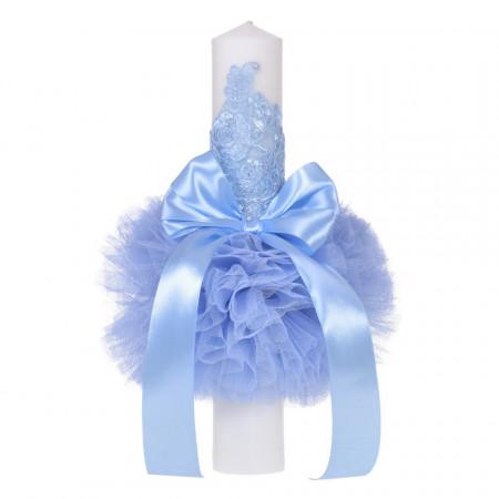 Lumanare botez eleganta cu tul, dantela si fundita, decor bleu, Denikos® 709