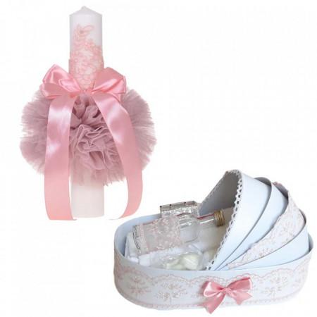 Lumanare botez glob cu dantela si trusou botez in landou, decor Roz pudra, Denikos® 747