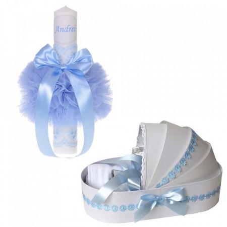 Lumanare botez personalizata si trusou botez in landou, decor Bleu cu floricele, Denikos® 774