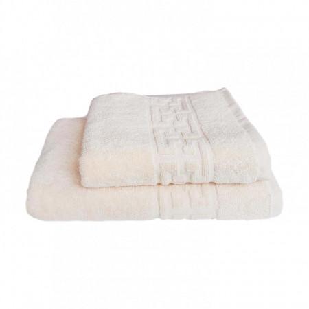 Set 2 prosoape groase si pufoase, bumbac, model grecesc, Crem, Denikos® 255