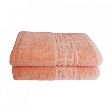 Set 2 prosoape mari groase si pufoase, bumbac, model grecesc, Somon, Denikos® 276