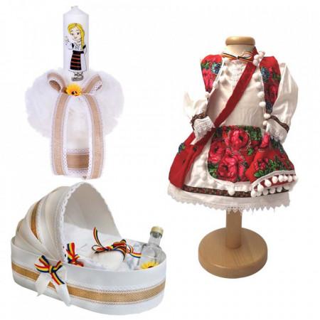 Set botez traditional fetita, trusou botez landou, lumanare si costum traditional, Denikos® 982