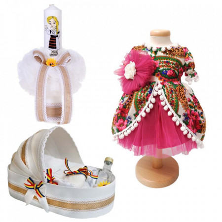 Set botez traditional fetita, trusou botez landou, lumanare si costum traditional, Denikos® 987