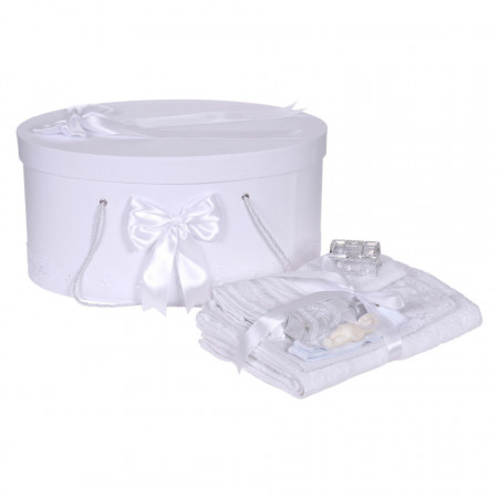 Set trusou botez si cutie trusou, dantela si fundite, decor Alb, Denikos® 844