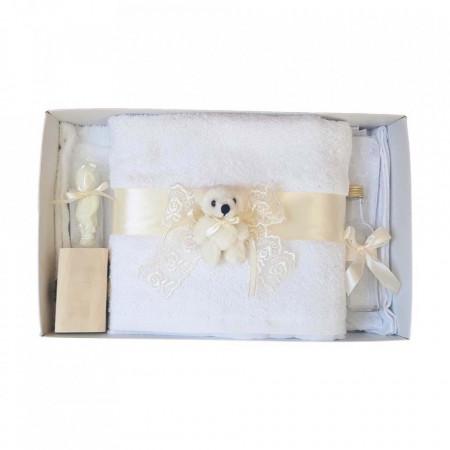 Set trusou botez si cutie trusou, Ursulet, dantela ivory, Denikos® 460
