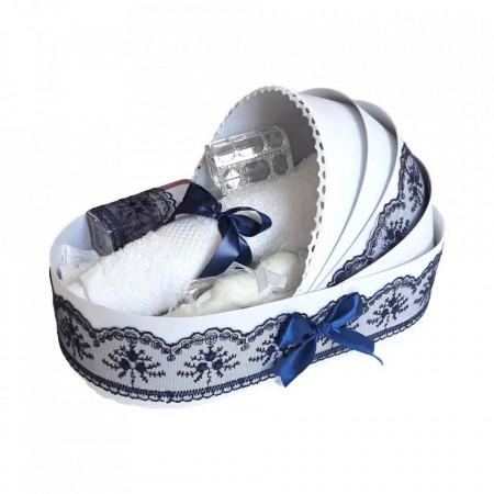 Trusou botez complet, in landou, decor elegant cu dantela bleumarin Denikos® 146