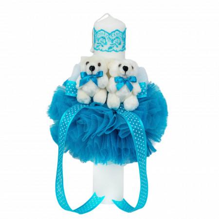 Trusou botez cu ursulet si lumanare glob, dantela si ursuleti, decor Turcoaz, Denikos® 607