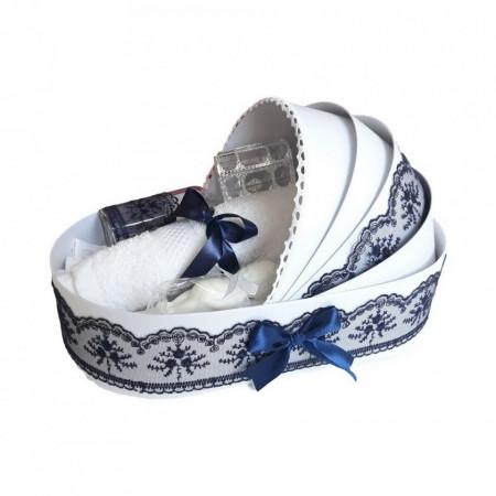 Trusou botez in landou si lumanare cu iepuras, decor bleumarin Denikos® 172