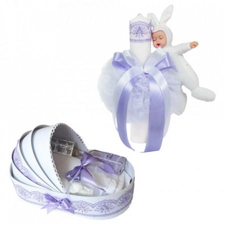 Trusou botez in landou si lumanare cu iepuras, decor lila Denikos® 581