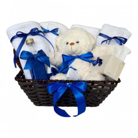 Cos cadou trusou botez, Ursulet, decor Albastru, set 12 piese, Denikos® 637