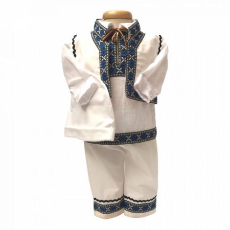 Costum traditional bebe baietel, Albastru, Denikos® 670