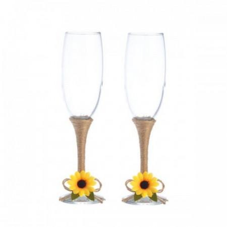 Pahare nunta miri rustice floarea soarelui PN012