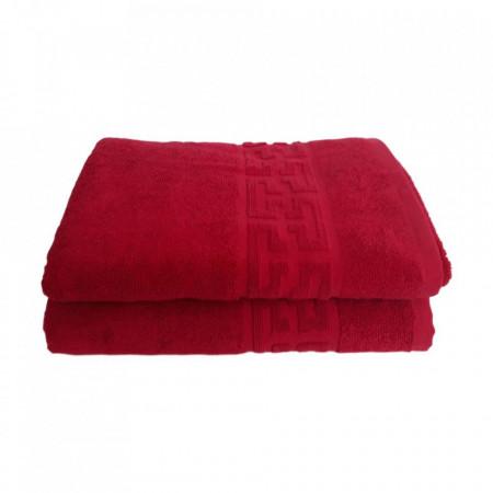 Set 2 prosoape mari groase si pufoase, bumbac, model grecesc, Rosu, Denikos® 271