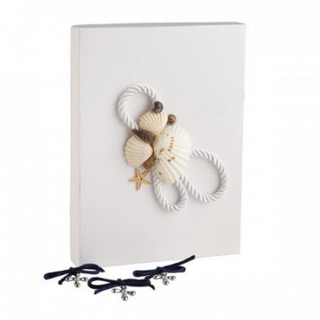Set 50 cruciulite botez cu snur si cutie cadou decor alb tema marina CC-017