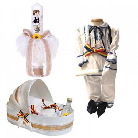 Set botez traditional baietel, trusou botez landou, lumanare si costum national baiat, Denikos® 969