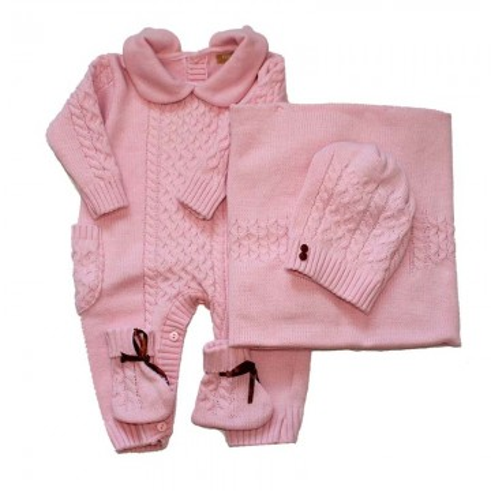 Set cadou bebe crosetat roz 4 piese APSN05