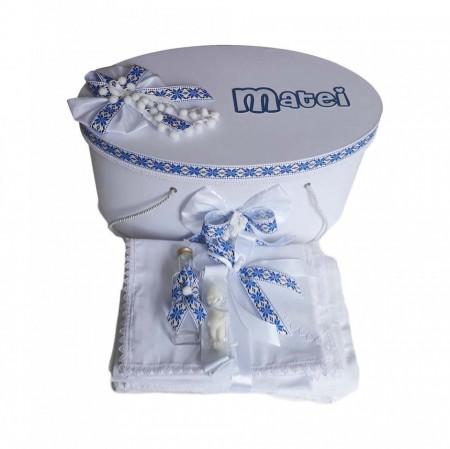 Poze Set cutie trusou personalizata si trusou botez, decor traditional, albastru, Denikos® 230