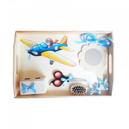 Set tavita mot, baietel 1 an, decor avion Denikos® 184