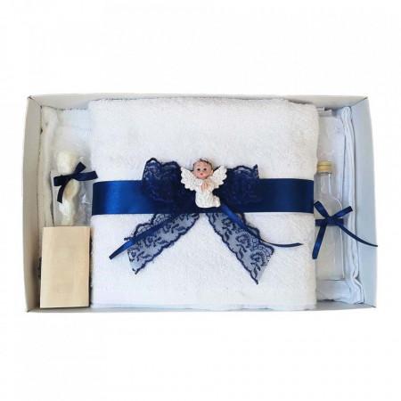 Set trusou botez si cutie trusou, Ingeras, dantela bleumarin, Denikos® 447