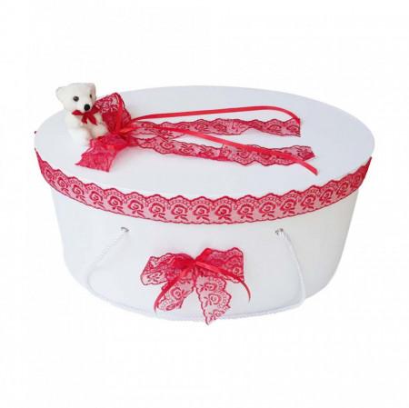 Set trusou botez si cutie trusou, Ursulet, dantela rosie, Denikos® 464