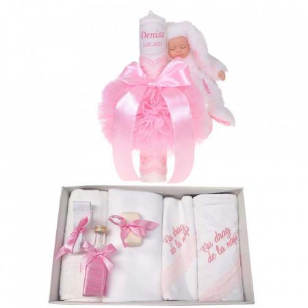 Trusou botez cu mesaj si lumanare botez personalizata, decor roz cu iepuras, Denikos® 794
