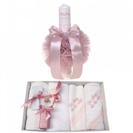 Trusou botez cu mesaj si lumanare botez personalizata, decor roz pudra, Denikos® 787