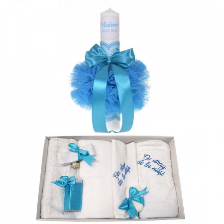 Trusou botez cu mesaj si lumanare botez personalizata, decor turcoaz, Denikos® 784
