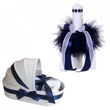 Trusou botez in landou si lumanare cu floricele, decor bleumarin Denikos® 103