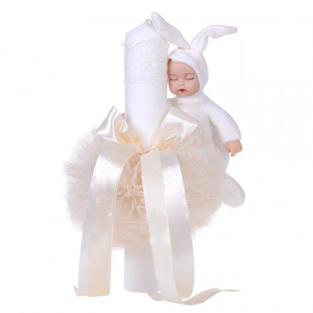 Trusou botez in landou si lumanare cu iepuras, decor ivoire Denikos® 107