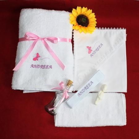 Poze Trusou botez personalizat cu numele copilului si brodat fluturas roz NKB002