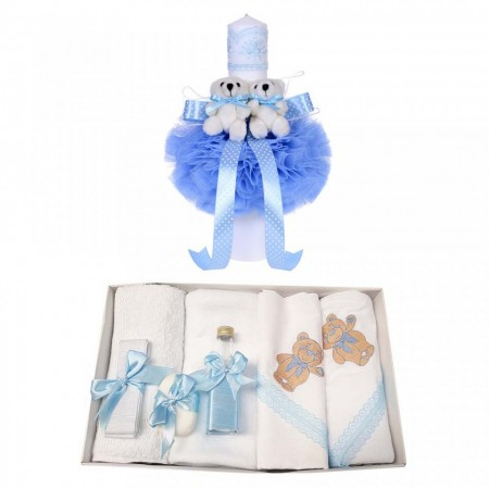 Trusou botez ursulet si lumanare pentru baietel, bleu, Denikos® 97