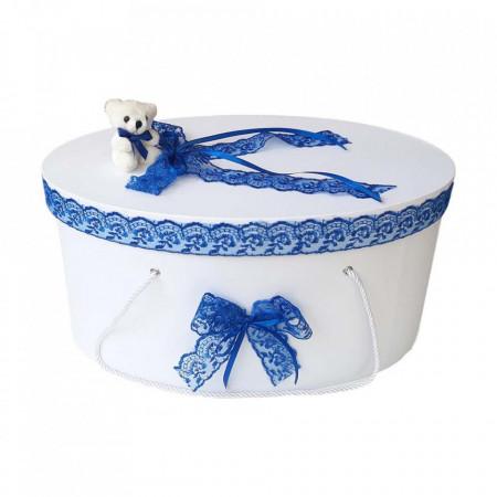 Cutie trusou botez dantela albastra si ursulet, Denikos® 393