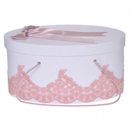 Cutie trusou botez dantela dusty rose eleganta si o fundita asortata, Denikos® 826