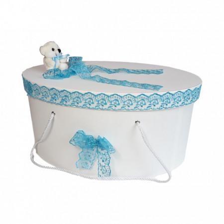 Cutie trusou botez dantela turcoaz si ursulet, Denikos® 179
