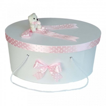 Cutie trusou botez fundite roz cu buline si ursulet, Denikos® 4