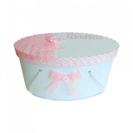Cutie trusou botez pentru fetita, personalizata, decor dantela roz, Denikos® 217