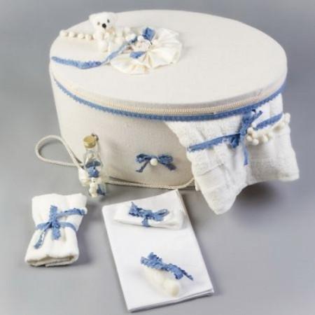 Cutie trusou decorata cu fundite si dantela bleu LG101-C