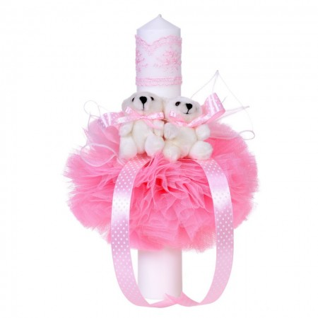 Lumanare botez 2 ursuleti, tul roz, Denikos® 48