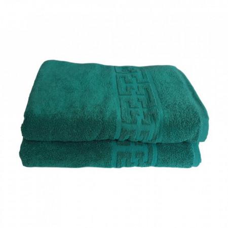 Set 2 prosoape mari groase si pufoase, bumbac, model grecesc, Verde, Denikos® 287