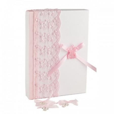 Poze Set 50 cruciulite botez fetita si cutie cu dantela cadou CC-014