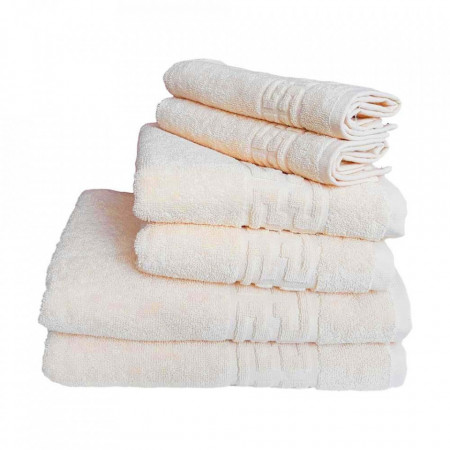 Set 6 prosoape groase si pufoase, bumbac, model grecesc, Crem, Denikos® 254