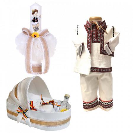 Set botez popular baietel, trusou botez landou, lumanare si costum national baiat, Denikos® 966