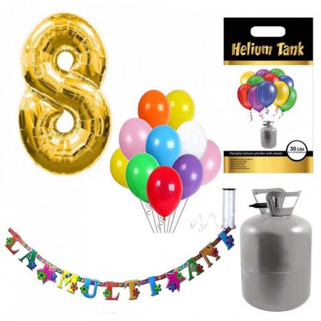 Set party butelie heliu, balon cifra 8 folie, banner si 10 baloane latex