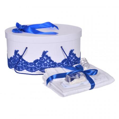 Set trusou botez si cutie trusou, dantela si fundita, decor elegant Albastru, Denikos® 846
