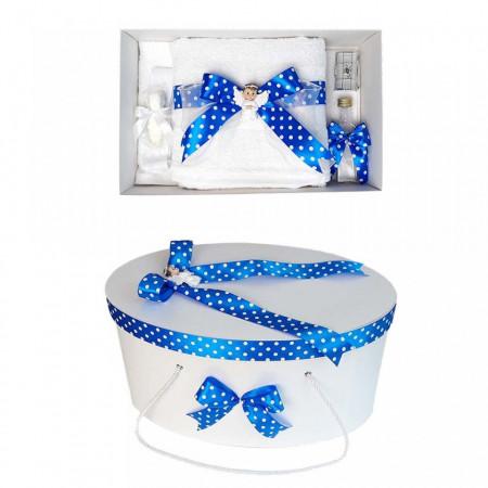 Poze Set trusou botez si cutie trusou, Ingeras, fundita albastra cu buline, Denikos® 20
