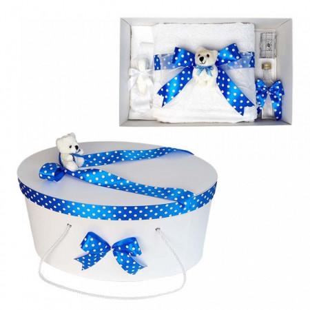Set trusou botez si cutie trusou, Ursulet, fundita albastra cu buline, Denikos® 23