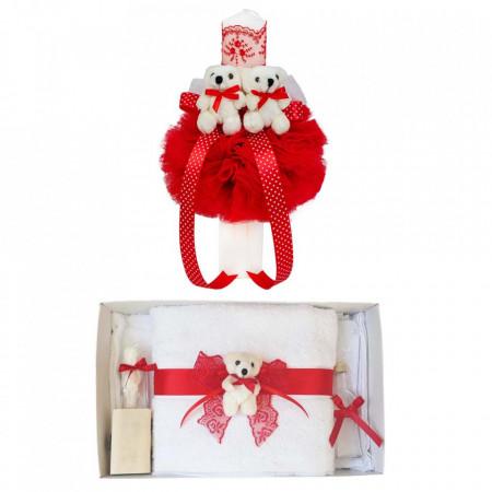 Trusou botez cu ursulet si lumanare glob, dantela si ursuleti, decor Rosu, Denikos® 605