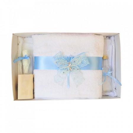 Trusou botez dantela bleu si fluturas Denikos® 414