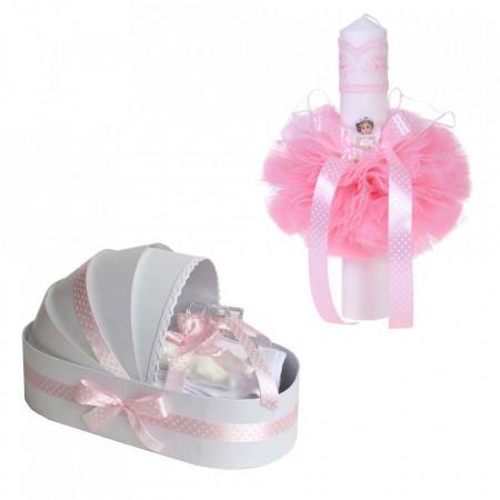 Trusou botez in landou si lumanare cu ingeras, decor roz cu buline Denikos® 114