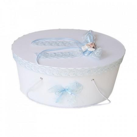 Cutie trusou botez dantela bleu si ingeras, Denikos® 383